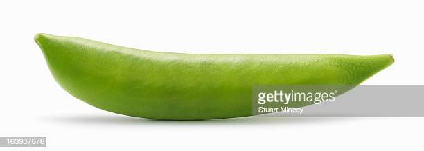 Snap peas in pod on white background