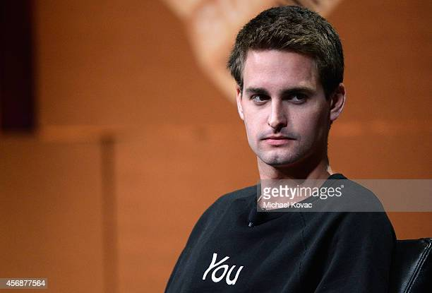 Snapchat CEO Evan Spiegel speaks onstage during Disrupting Information and Communication at the Vanity Fair New Establishment Summit at Yerba Buena...