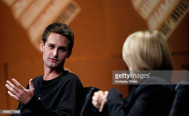 Snapchat CEO Evan Spiegel speaks onstage during 'Disrupting Information and Communication' at the Vanity Fair New Establishment Summit at Yerba Buena...