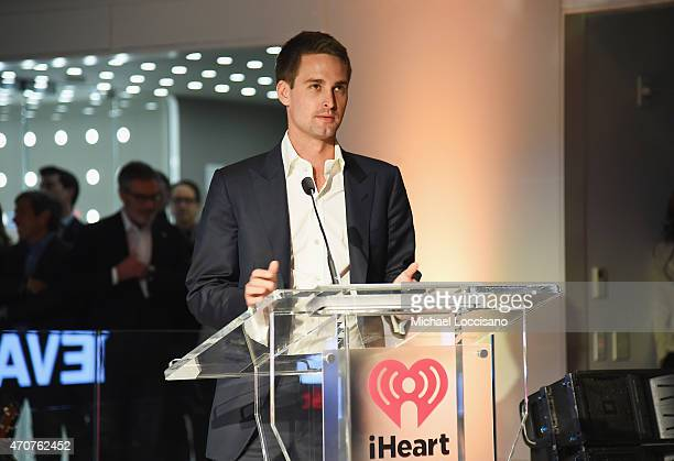 Snapchat cofounder and CEO Evan Spiegel speaks during the iHeartMedia Soundfront at iHeartMedia Headquarters on April 22 2015 in New York City