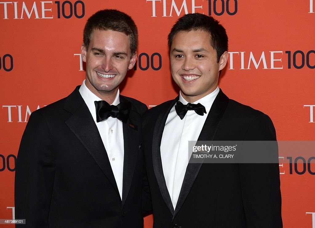 Snapchat co-founders Evan Spiegel and Bobby Murphy attends the Time 100 Gala celebrating the Time 100 issue of the Most Influential People In The World at Jazz at Lincoln Center on April 29, 2014 in New York. AFP PHOTO / Timothy A. CLARY