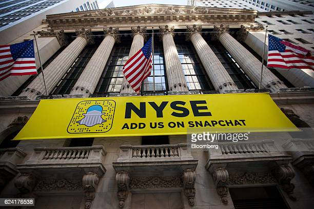 A Snapchat sign is displayed outside of the New York Stock Exchange in New York US on Friday Nov 18 2016 US stocks slipped after a postelection rally...