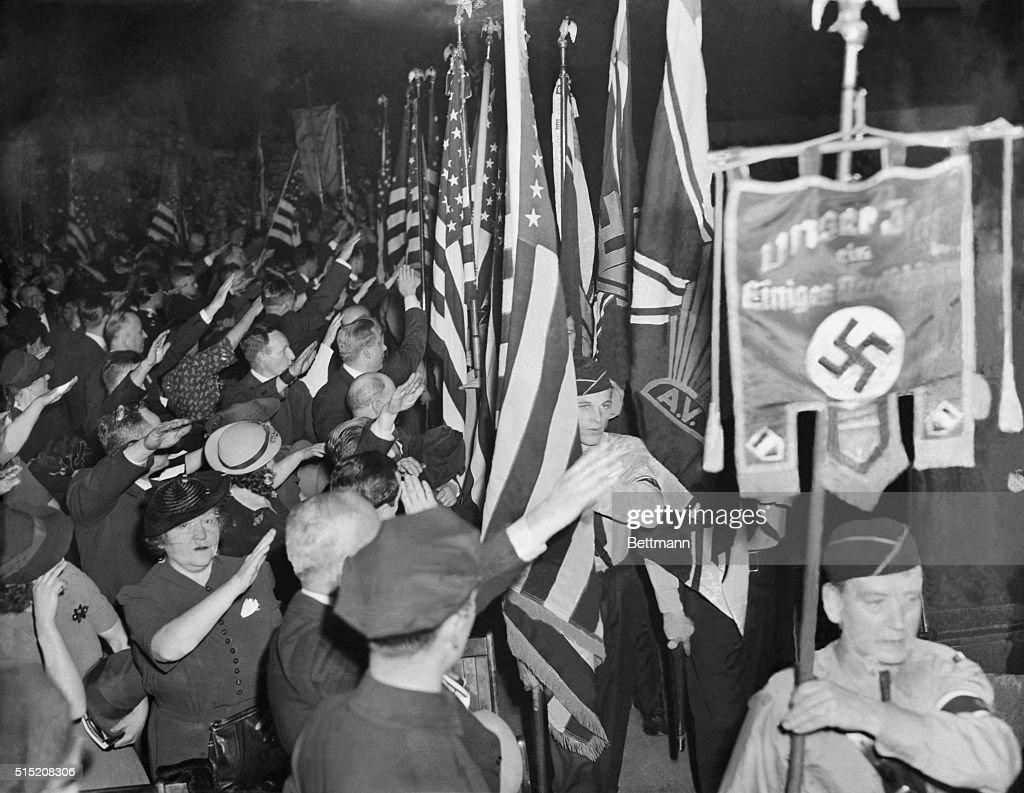 Bund Members Hailing Swastika Banner : News Photo