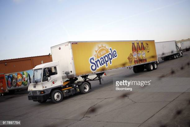 Snapple brand beverages signage is seen on a delivery truck leaving a facility in Louisville Kentucky US on Tuesday Feb 13 2018 Dr Pepper Snapple...