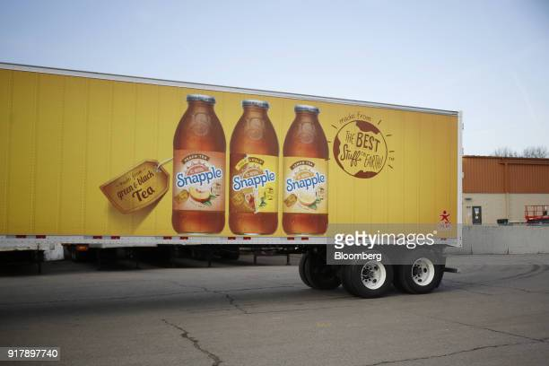 Snapple brand beverages signage is seen on a delivery truck outside a facility in Louisville Kentucky US on Tuesday Feb 13 2018 Dr Pepper Snapple...