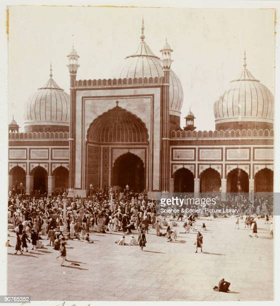 A snapshot photograph of the Jama Masjid mosque Delhi India taken by an unknown photographer in about 1915 Crowds throng the courtyard in front of...