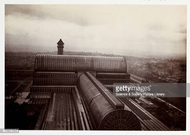 A snapshot photograph of the roof of the Crystal Palace Sydenham London taken by an unknown photographer in about 1900 An unusual photograph of the...