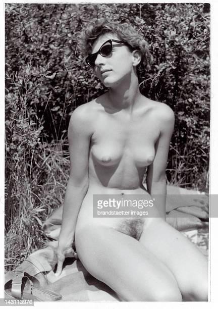 Snapshot Sunbathing nude Austria Photograph 1950