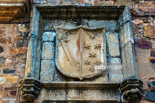 sánchez paredes house in caceres - sword in the stone stock photos and pictures
