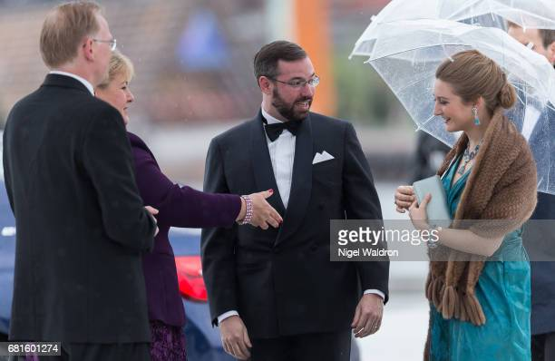 Sndre Finnes Prime Minister Erna Solberg of Norway Prince Guillaume of Luxembourg and Princess Stephanie of Luxembourg arrives at the Opera House on...