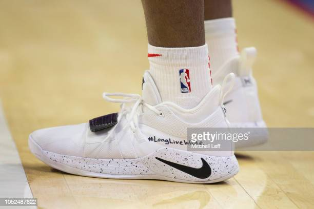 Sneaker detail of Antonio Blakeney of the Chicago Bulls in the third quarter against the Philadelphia 76ers at Wells Fargo Center on October 18 2018...
