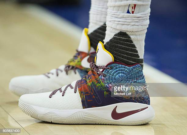 Sneaker detail of Kyrie Iriving of the Cleveland Cavaliers in the game against the Philadelphia 76ers on January 10 2016 at the Wells Fargo Center in...