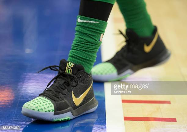 Sneaker detail of Kyrie Irving of the Boston Celtics during the game against the Philadelphia 76ers at the Wells Fargo Center on October 20 2017 in...