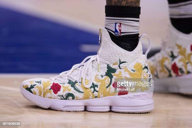 Sneaker detail of Markelle Fultz of the Philadelphia 76ers prior to the game against the Indiana Pacers at the Wells Fargo Center on March 13 2018 in...