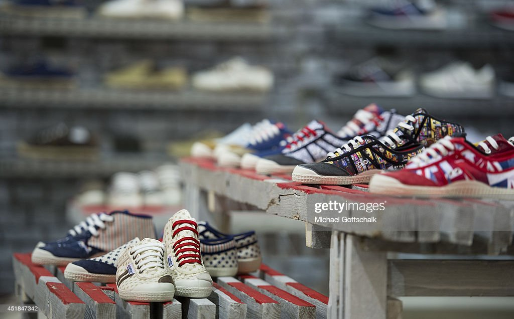 Sneakers are presented at the Bread and Butter trade show at the former Tempelhof airport on July 08, 2014 in Berlin, Germany.