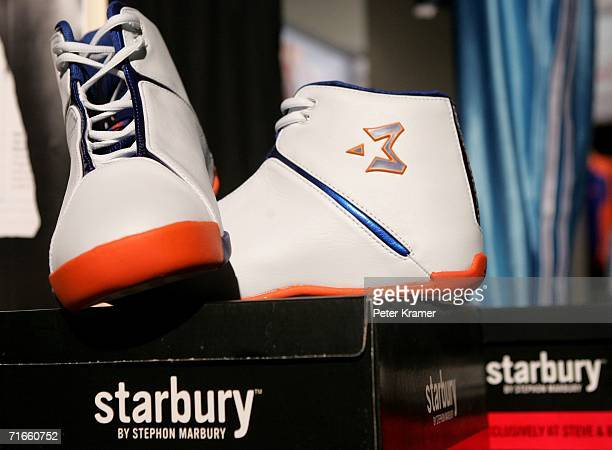 428bed31e41f Sneakers from the Starbury line by Stephon Marbury sit on display at the  Stephen Barry Store