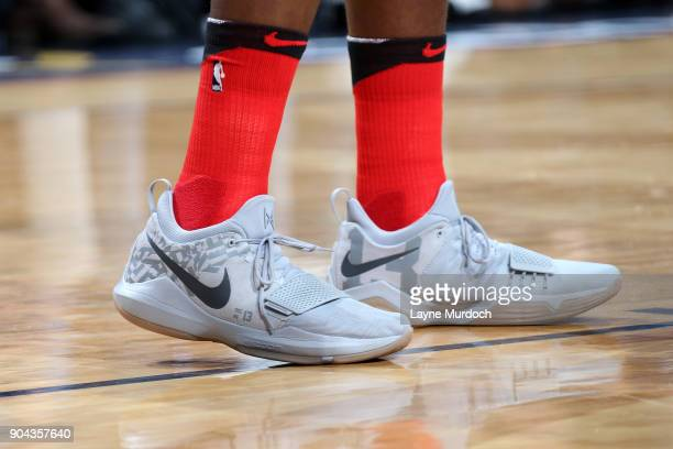 Sneakers of AlFarouq Aminu of the Portland Trail Blazers during the game against the New Orleans Pelicans on January 12 2018 at the Smoothie King...