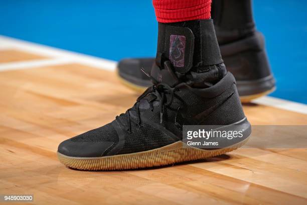 Sneakers of AlFarouq Aminu of the Portland Trail Blazers during the game against the Dallas Mavericks on April 3 2018 at the American Airlines Center...