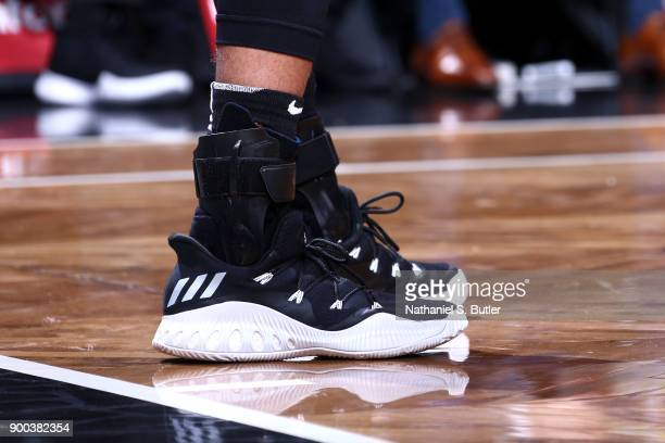 Sneakers of Allen Crabbe of the Brooklyn Nets during the game against the Orlando Magic on January 1 2018 at Barclays Center in Brooklyn New York...