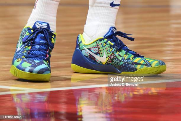 Sneakers of Allonzo Trier of the New York Knicks on March 3 2019 at STAPLES Center in Los Angeles California NOTE TO USER User expressly acknowledges...