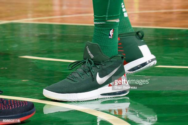 Sneakers of Aron Baynes of the Boston Celtics during game against the Washington Wizards on December 25 2017 at the TD Garden in Boston Massachusetts...