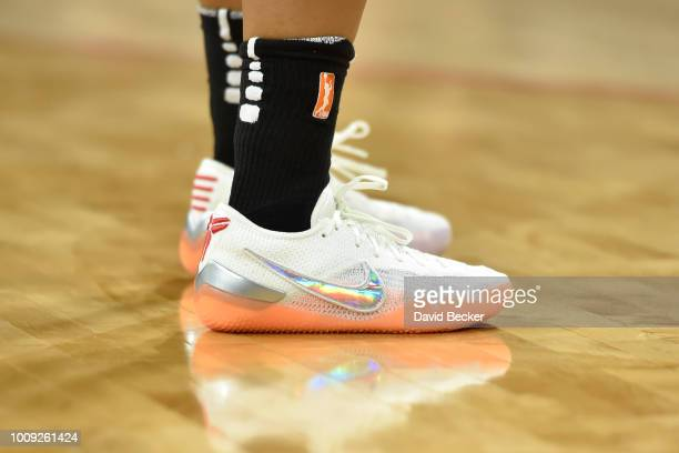 Sneakers of Briann January of the Phoenix Mercury during game against the Las Vegas Aces on August 1 2018 at the Mandalay Bay Events Center in Las...