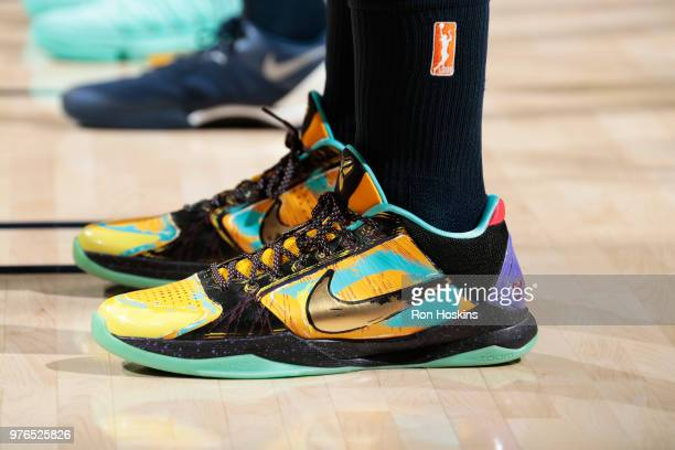 Sneakers of Candice Dupree of the Indiana Fever during the game on June 16 2018 at Bankers Life Fieldhouse in Indianapolis Indiana NOTE TO USER User...