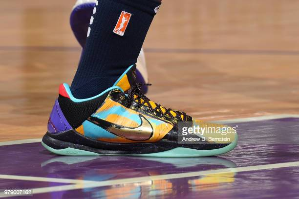 Sneakers of Candice Dupree of the Indiana Fever seen during the game against the Los Angeles Sparks on June 19 2018 at STAPLES Center in Los Angeles...