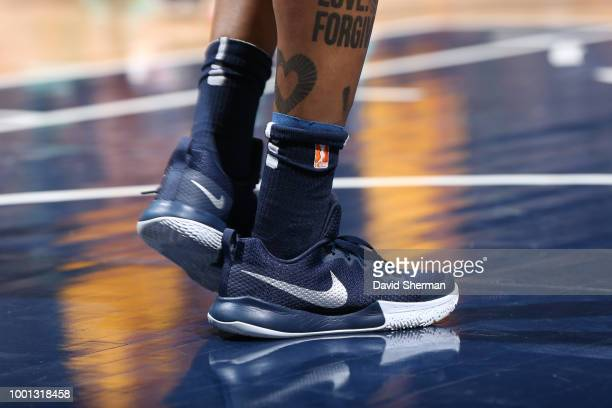 Sneakers of Cappie Pondexter of the Indiana Fever seen during the game against the Minnesota Lynx on July 18 2018 at Target Center in Minneapolis...