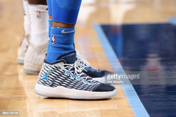 Sneakers of Carmelo Anthony of the Oklahoma City Thunder during the game against the Memphis Grizzlies on December 9 2017 at FedExForum in Memphis...