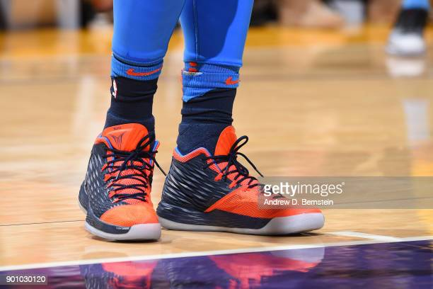 Sneakers of Carmelo Anthony of the Oklahoma City Thunder during the game against the Los Angeles Lakers on January 3 2018 at STAPLES Center in Los...