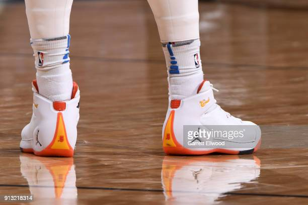Sneakers of Carmelo Anthony of the Oklahoma City Thunder during the game against the Denver Nuggets on February 1 2018 at the Pepsi Center in Denver...