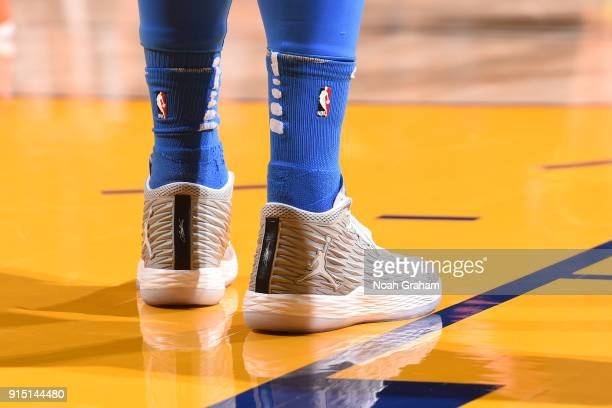 Sneakers of Carmelo Anthony of the Oklahoma City Thunder during the game against the Golden State Warriors on February 6 2018 at ORACLE Arena in...