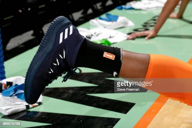 Sneakers of Chiney Ogwumike of the Connecticut Sun before the game against the New York Liberty on June 7 2018 at Westchester County Center in White...