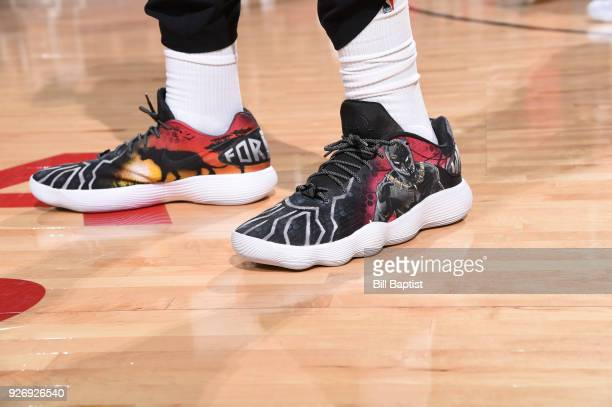 Sneakers of Clint Capela of the Houston Rockets during game against the Boston Celtics on March 3 2018 at the Toyota Center in Houston Texas NOTE TO...