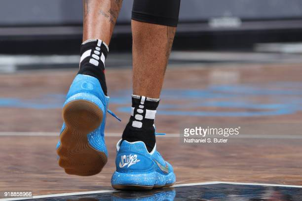 Sneakers of D'Angelo Russell of the Brooklyn Nets during the game against the Los Angeles Lakers on February 2 2018 at Barclays Center in Brooklyn...