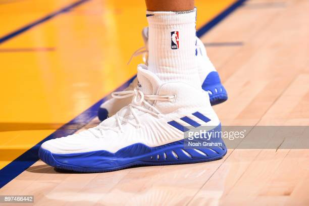 Sneakers of David West of the Golden State Warriors during the game against the Los Angeles Lakers on December 22 2017 at ORACLE Arena in Oakland...