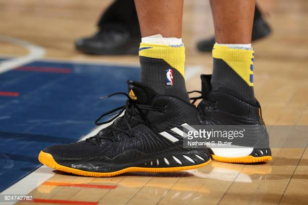 Sneakers of David West of the Golden State Warriors during the game against the New York Knicks on February 26 2018 at Madison Square Garden in New...