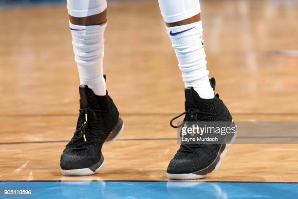 Sneakers of De'Aaron Fox of the Sacramento Kings during the game against the Oklahoma City Thunder on January 15 2018 at Chesapeake Energy Arena in...