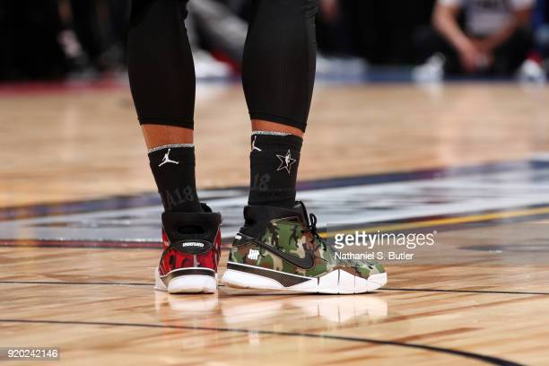 Sneakers of DeMar DeRozan of Team Stephen during the game against Team LeBron during the NBA AllStar Game as a part of 2018 NBA AllStar Weekend at...