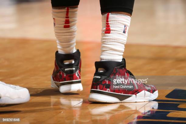 Sneakers of DeMar DeRozan of the Toronto Raptors during the game against the Washington Wizards in Game Three of Round One of the 2018 NBA Playoffs...
