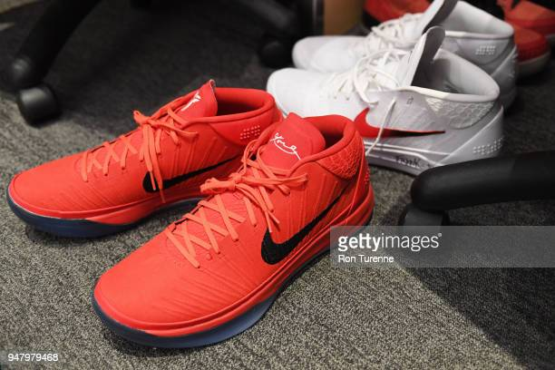 Sneakers of DeMar DeRozan of the Toronto Raptors seen in the locker room before the game against the Washington Wizards in Game One of Round One of...