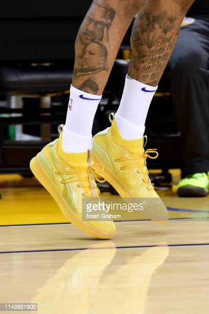 Sneakers of DeMarcus Cousins of the Golden State Warriors before Game One of the 2019 Western Conference Finals of the NBA Playoffs at the ORACLE...
