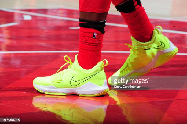 Sneakers of Dennis Schroder of the Atlanta Hawks during game against the Detroit Pistons on February 11 2018 at Philips Arena in Atlanta Georgia NOTE...