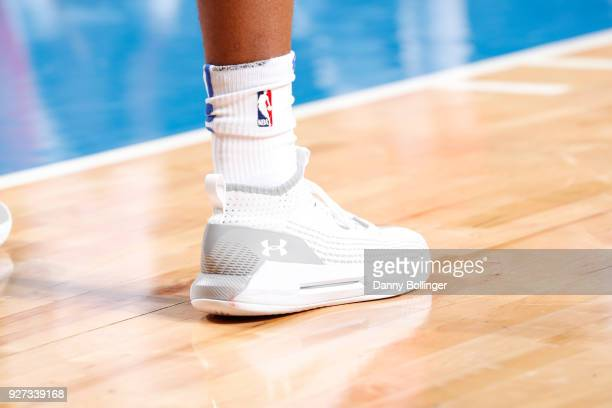 Sneakers of Dennis Smith Jr #1 of the Dallas Mavericks during game against the New Orleans Pelicans on March 4 2018 at the American Airlines Center...