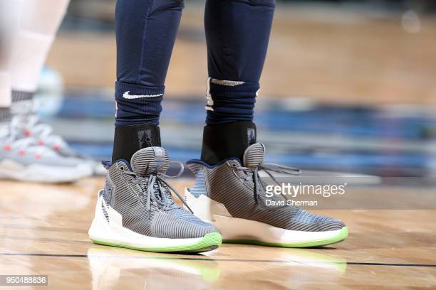Sneakers of Derrick Rose of the Minnesota Timberwolves during the game against the Houston Rockets in Game Four of Round One of the 2018 NBA Playoffs...