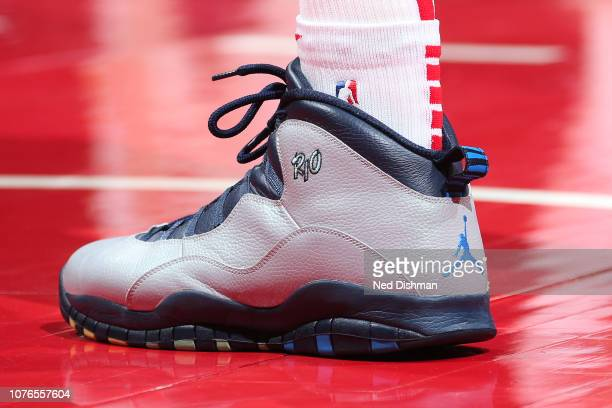 Sneakers of Dewayne Dedmon of the Atlanta Hawks seen during the game against the Washington Wizards on January 2 2019 at Capital One Arena in...