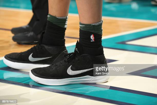 Sneakers of DJ Wilson of the Milwaukee Bucks during game against the Charlotte Hornets on December 23 2017 at the Spectrum Center in Charlotte North...