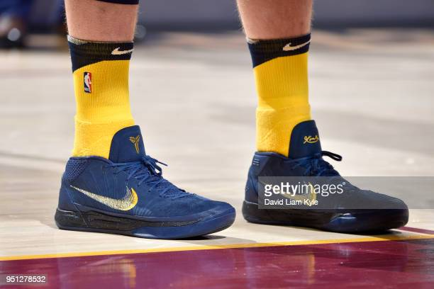Sneakers of Domantas Sabonis of the Indiana Pacers during the game against the Cleveland Cavaliers in Game Five of Round One of the 2018 NBA Playoffs...
