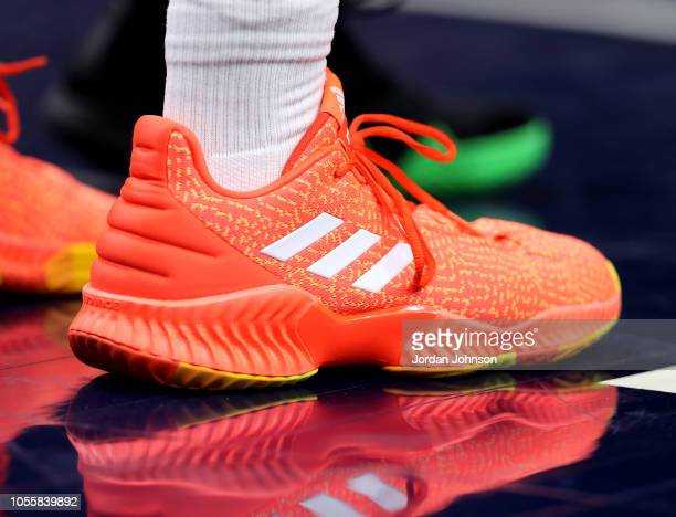 Sneakers of Donovan Mitchell of the Utah Jazz seen during the game against the Minnesota Timberwolves on October 31 2018 at Target Center in...
